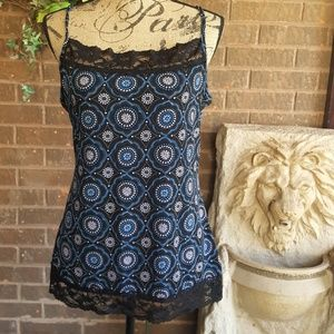 Maurice Camisole  with black lace trim Size XL